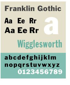 Franklin Gothic font. Color combinations.