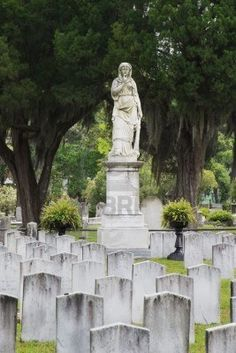 The Silence monument watches over 750 Confederate graves in Laurel Grove North Cemetery - Perpetual Memorials - the craven images that remind US ALL to NEVER FORGET! Confederate Statues, Confederate Monuments, Confederate States Of America, Confederate Flag, American Civil War, American History, Garden Animal Statues, Cemetery Headstones, Cemetery Art