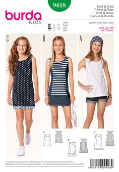 hip and trendy favorites for girls on the move, uncomplicated and comfortable: narrow tank top combined with shorts or short shirt dress, with stripes or a stitched-in mesh flounce echoing the dots' color.