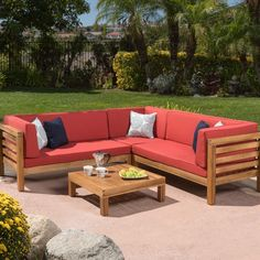 Christopher Knight Home Oana Outdoor 4-Piece Acacia Wood Sectional Sofa Set with Cushions