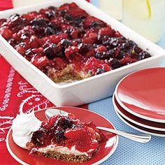 Mixed-Berry Pretzel Tart | MyRecipes.com