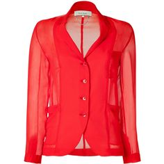 Paul Smith Red Sheer Blazer-Blouse ($285) ❤ liked on Polyvore featuring blazer, blouses, jackets, tops, red and paul smith