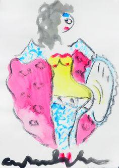 Dit is een: Gem. tech. op papier, titel: 'Lola' kunstwerk vervaardigd door: Anton Heyboer