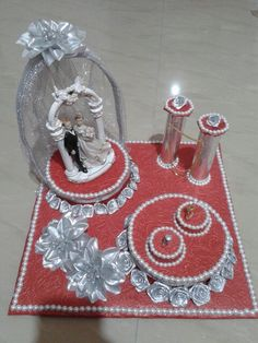 Thali Decoration Ideas, Diy Diwali Decorations, Diy Wedding Decorations, Balloon Decorations, Decor Ideas, Engagement Ring Platter, Wedding Gift Wrapping, Gift Wraping, Marriage Decoration