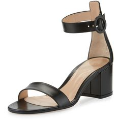 Gianvito Rossi Leather Chunky-Heel Sandal (926 AUD) ❤ liked on Polyvore featuring shoes, sandals, black, leather sandals, open toe sandals, black leather sandals, black block heel sandals and black sandals