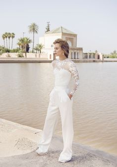 We've rounded up 20 gorgeous long sleeve wedding dresses, to inspire your own gown, a timeless trend that works for every style, and every wedding. Wedding Jumpsuits For Brides, Wedding Rompers, New Wedding Dresses, Tomboy Wedding Dress, Wedding Dress Sleeves, Long Sleeve Wedding, Catherine Deane Wedding Dress, Boho Gown, Bridal Jumpsuit
