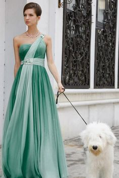 Green One Shoulder Chiffon Formal Prom Bridesmaid Ball Gown Dress