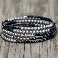 Jewelry OFF! Black Gunmetal Stardust Beaded Wrap by HoleInHerStocking on Etsy memory wire bracelet boho jewelry silver jewelry gypsy Wire Wrapped Bracelet, Beaded Wrap Bracelets, Beaded Jewelry, Jewelry Bracelets, Silver Jewelry, Silver Rings, Jewelry Hanger, Diamond Bracelets, Jewlery
