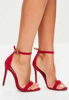 Red Two Strap Barely There Heels