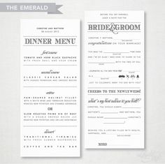 The 'Emerald' Guest Libs Menu by delightink on Etsy