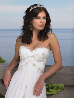Strapless Chiffon Sweetheart Strand Hochzeitskleid mit Empire-Taille