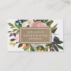 Vintage Rustic Florals Business Card Vintage Business Cards, Modern Business Cards, Custom Business Cards, Professional Business Cards, Business Card Design, Creative Business, Print Templates, Card Templates, Retro Design