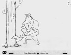 "kendallnelsonart: "" Animation tip: Don't do what I do and concentrate so hard on animating elegant movement that you forget that you're trying to bring a character to life. Just adding the little look up at the tree makes the character seem like he's..."
