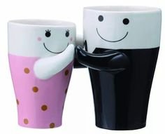 These cute mugs are hugging each others. A wonderful gift for coffee loving couples and friends. Classic white ceramic mugs, which are packed pairwise. Cute Coffee Cups, Best Coffee Mugs, Unique Coffee Mugs, Coffee Talk, Couple Mugs, Sun Art, Tea Infuser, Personalized Mugs, Ceramic Mugs