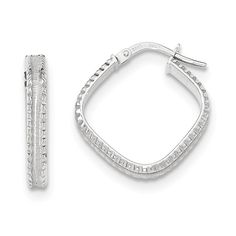14k White Gold Polished/satin Ridge Edge Concave Square Hoop Earrings. We encourage you to read the product description below in full before you place your order. So that you do not receive a product that you did not expect, especially width/length if available. We offer 30 Days Hassle Free Returns!. Goldia is one of the top performing Jewelry/Gift Category Vendors in Amazon Prime.