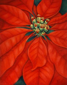 Red Poinsettia Painting by Artist Barbara Ann Robertson Diy Christmas Lights, Christmas Table Decorations, Christmas Art, Watercolor Cards, Watercolor Flowers, Watercolor Paintings, Watercolors, Paint Flowers, Barbara Ann