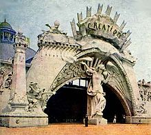 """Louisiana Purchase Exposition - entrance to the exhibit """"Creation"""" based on book of genesis"""