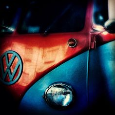 Red and Blue VW Bus Superman colors