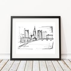 Columbus Ohio Skyline Sketch | Original artwork | Architectural drawing | Pen and Ink by hand | 8x10 Wall Print by IlerCreative on Etsy https://www.etsy.com/listing/540431391/columbus-ohio-skyline-sketch-original
