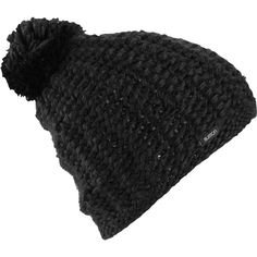 Burton Guess Again (True Black) Women's Beanie ($30) ❤ liked on Polyvore featuring accessories, hats, beanie, acessorios, black, black beanie hat, burton beanie, pom beanie, slouchy beanie and pom pom beanie hat