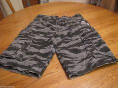 Men's Hurley walk casual shorts 30 camo camouflage surf skate black grey cargo #Hurley #shorts