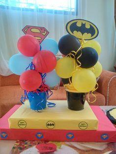 Arreglos de mesa para fiesta temática Batman y Superman Más
