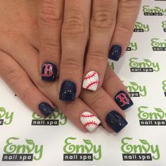 Boston Red Sox, Baseball Nails - Envy Nail Spa Baseball Nail Designs, Baseball Nail Art, Softball Nails, Softball Quotes, Shellac Nails, Toe Nails, Nail Polish, Manicures, Nail Ring