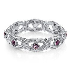 1928 Jewelry Pastel Bracelets Silver Tone Amethyst Jeweltone Stretch Bracelet *** Read more reviews of the product by visiting the link on the image.