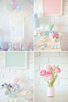 pastel colored decorations | Pastel Valentines Day Party Dessert Table