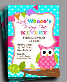 Perfect invitation for any owl themed event! This item is a personalized owl invitation image.    This item is for a 5x7 jpeg file that will be