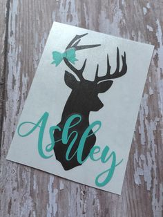 Deer Head Name Decal  Name Dear Head  by MMVinylCreations on Etsy