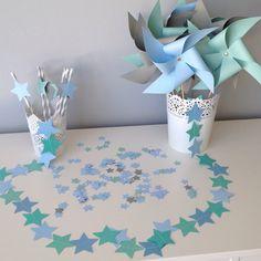 Kit décoration étoile bleu ciel, gris et vert d'eau idéal pour décoration bapteme, anniversaire, mariage, naissance : Accessoires de maison par fandescrap
