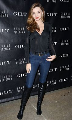 Miranda Kerr at a Stuart Weitzman launch in New York
