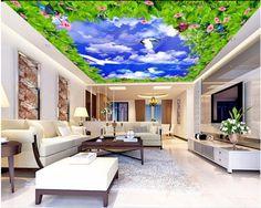 Custom photo 3d ceiling murals wallpaper blue sky white clouds of flower decor painting 3d wall murals wallpaper for living room