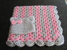 bebé niña manta set raya la abuela de ganchillo crochet