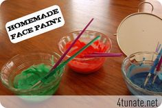 face paint recipe- 2tsp. cornstarch 1tsp. lotion or facial cream 1tsp. water and food coloring