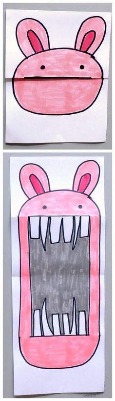 Dibujos graciosos para hacer con los peques Cómo hacer dibujos graciosos con los peques, dibujos de personajes que abren y cierran la boca. Dibujos graciosos doblando el papel.