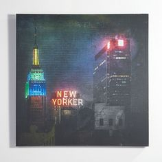 CB2 Empire And New Yorker Print ($199) ❤ liked on Polyvore featuring home, home decor, wall art, neon wall art, nyc wall art, cb2, new york city wall art and textured wall art