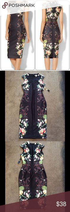 NWT NY & Company Black Floral Sheath Dress NWT NY & Company Black Floral Sheath Dress, Size XS (can stretch for a small), Sold out online, Price firm unless bundled New York & Company Dresses Midi