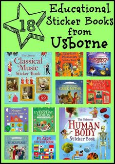 See comment for links to these educational fun sticker books
