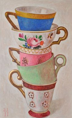 Pretty stacked tea cup illustration...
