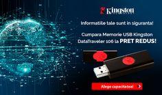Totul e in siguranta! Ai PRET REDUS la USB Kingston DataTraveler 106. Alege capacitatea dorita! Kingston, Laptops, Laptop, The Notebook, Notebooks