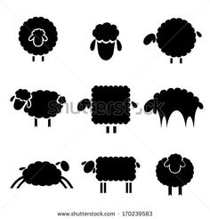 black silhouette of sheep on a light background - stock vector