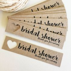 Bridal Shower Tags Pk10  Rustic. Kraft Brown.