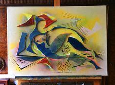sommer-frische, auf der staffelei, 50x70, mix-media-collage, 2014