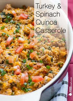 Turkey and Spinach Quinoa Casserole -- Quinoa casserole with turkey, spinach and low fat cheddar cheese that is high in protein and low in fat. Gluten free.