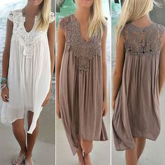 From UK Boho Womens Lace Embroidery Summer Loose Casual Beach Mini Swing Dress