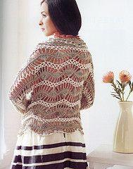 Ravelry: Feather and Fan Cardi Wrap pattern by Jennifer Hansen Hairpin Lace Crochet, Freeform Crochet, Crochet Designs, Crochet Patterns, Shrugs And Boleros, Crochet World, Wrap Pattern, Lace Outfit, Lace Tops