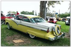 1956 Ford Fairlane Crown Victoria Skyliner 2-door Coupe- white over yellow