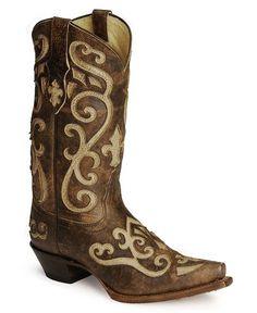 Tony Lama 100% Vaquero Cream Inlay Cowgirl Boots